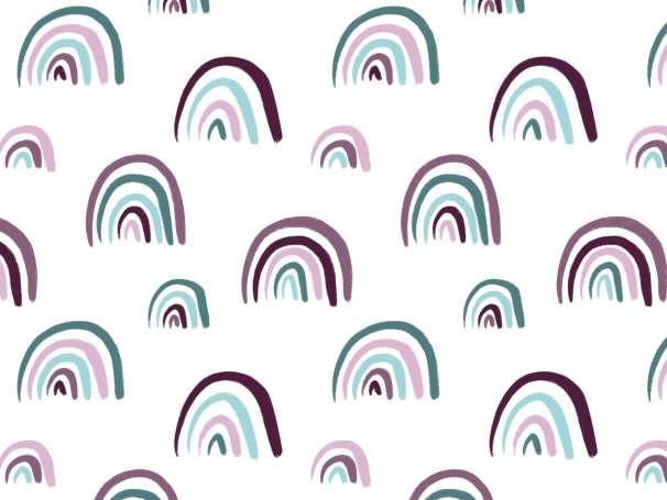 Jersey Stoff - Doodle Rainbows - aubergine-mint