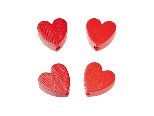 Schnulli-Herz-Perlen - 4 Stück - rot