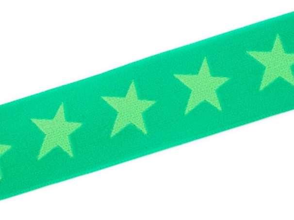 Gummiband STERN, beidseitig - 40 mm - grasgrün,hellgün