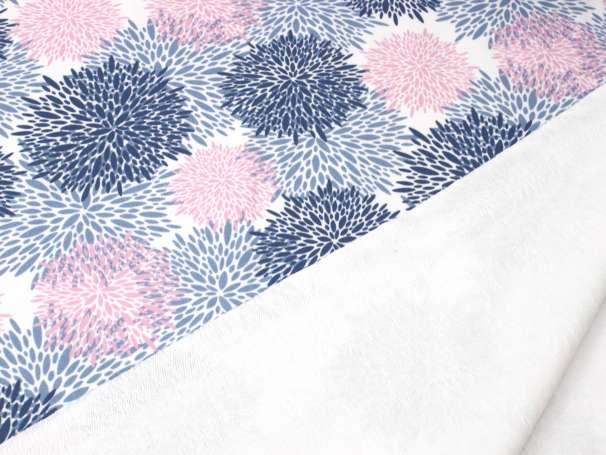 French Terry - Flower Burst, blau-rosa