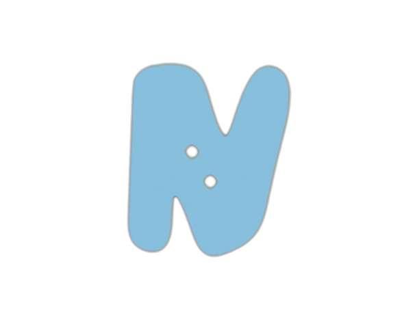 Buchstaben Knopf - blau - N