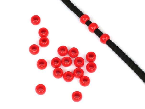 24 Kordel-Perlen - 6x8 mm - rot