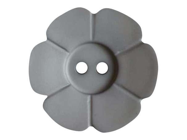Knopf Blümchen 28mm - grau