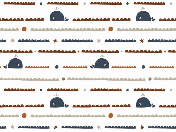 Jersey Stoff - Wellenlinie terracotta/marine - Wal