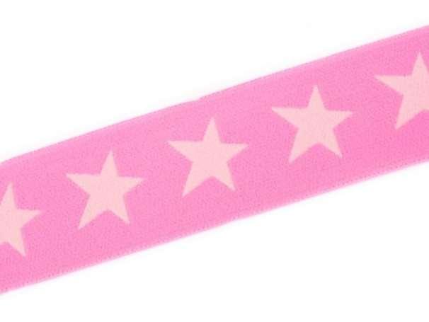Gummiband STERN, beidseitig - 40 mm - rosa,blassrosa