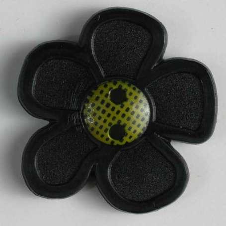 Knopf Blume 20mm - schwarz