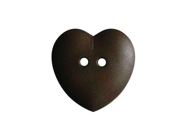 Knopf Herz 15mm - dunkelbraun