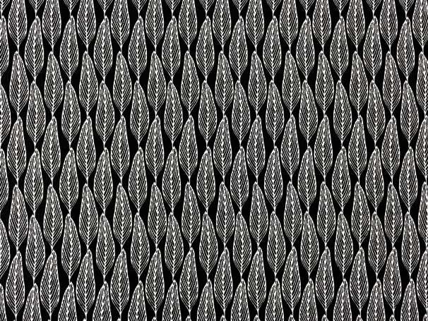 Baumwolle Stoff - Gumleaves Black