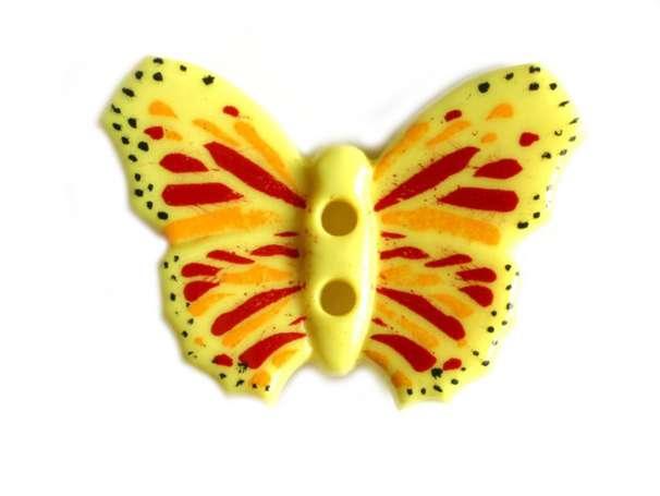 Knopf Schmetterling 28mm - gelb