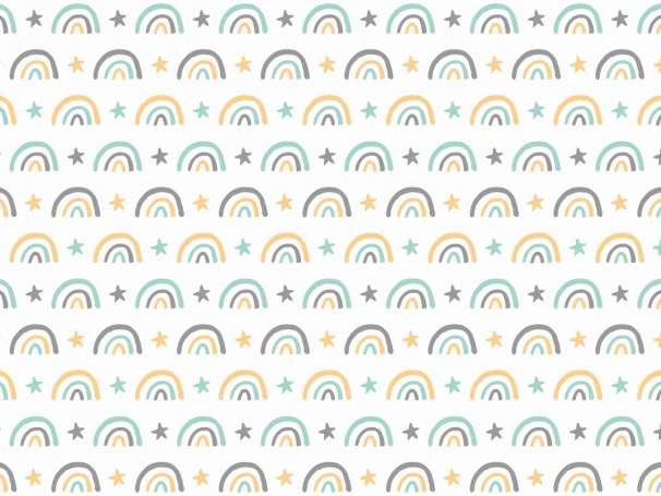 Jersey Stoff - Koala & Regenbogen - REGENBOGENREIHE mint,senf