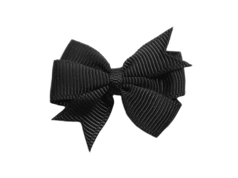 10 Schleifen Ripsband schwarz gepunktet