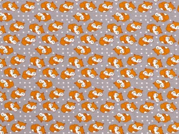 Jersey Stoff - Cute Fox - grau