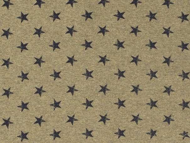 French Terry - Kleine Sterne - khaki,marine