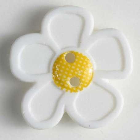 Knopf Blume 20mm - weiß