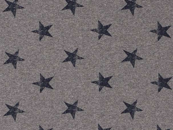 French Terry - Große Sterne - grau,marine
