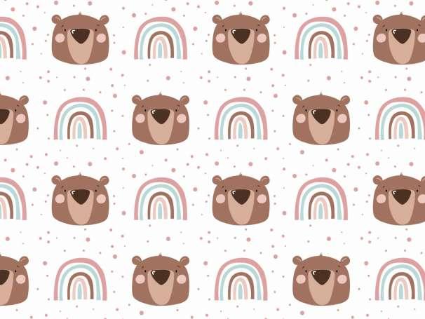Jersey Stoff - Little Bear & Rainbow, altrosa