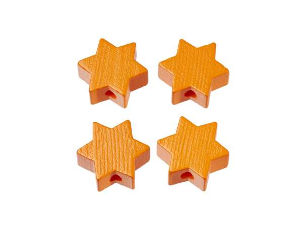 Schnulli-Stern-Perlen - 4 Stück - aprikot