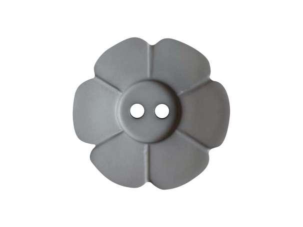 Knopf Blümchen 15mm - grau