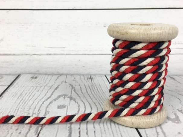 Kordel gedreht - creme rot marine