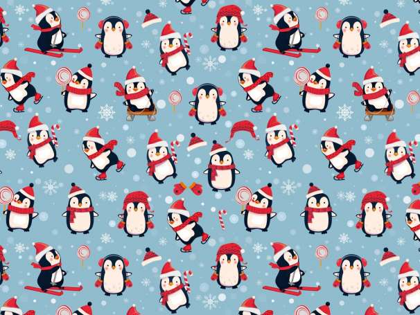 French Terry - Pinguin - blau