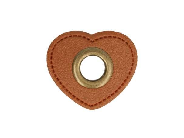 1 Kunstleder-Herz mit Öse - 8 mm - braun/bronze