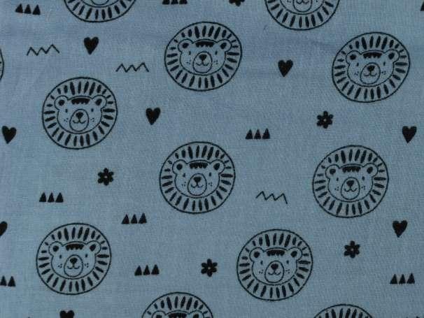 Glatter Musselin Stoff - Kleiner Löwe - blau