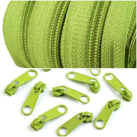 2m Endlos-Reißverschluss + 5 Zipper - breit grün