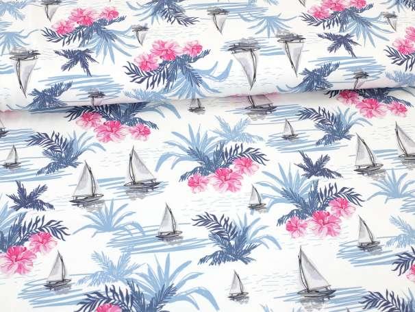 Jersey Stoff - Schiffe & Palmen - pink/blau