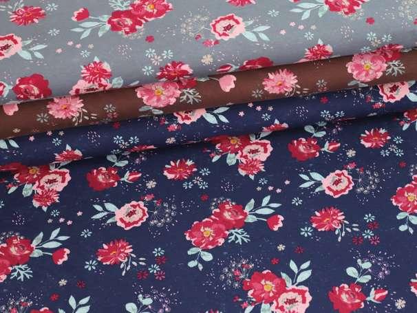 Jersey Stoff - Romantic Flowers - verschiedene Farben