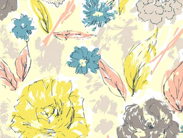 Baumwolle Stoff - Tapestry - Paper Flowers Aurora