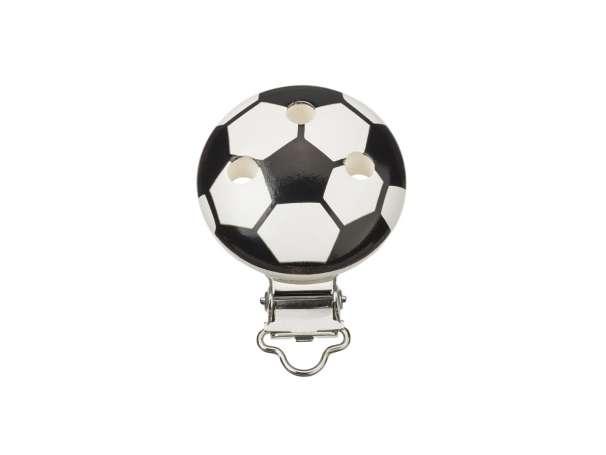 Schnulli-Ketten Clip - Fußball - schwarz/weiß
