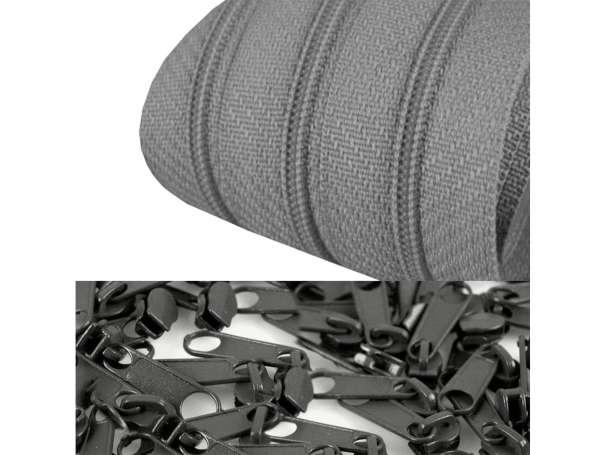 2m Endlos-Reißverschluss + 5 Zipper stahlgrau