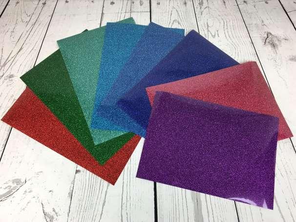 Glitzer Plotterfolie - DIN A4 - verschiedene Farben
