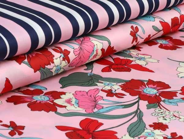 Baumwolle Satin Milliblus - Everyway - Streifen rosa/blau