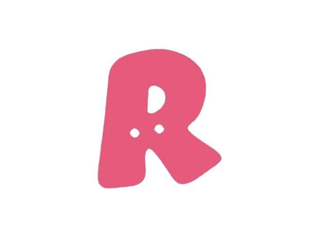 Buchstaben Knopf - pink - R