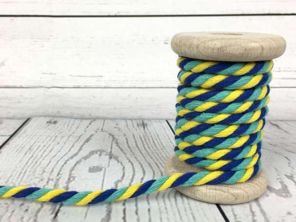 Kordel gedreht - gelb aqua blau