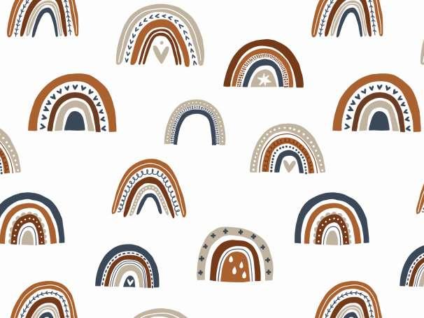 Jersey Stoff - Regenbogen terracotta/marine