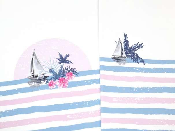 Jersey Stoff - PANEL - Schiffe & Palmen - blau/rosa