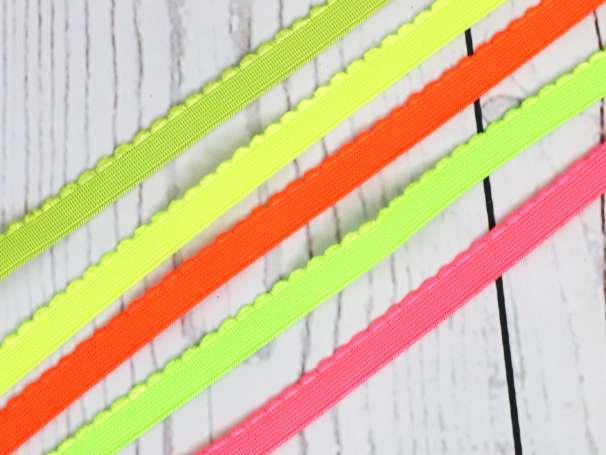 Gummiband - Bogenkante schmal - 12mm - Neon-Farbauswahl