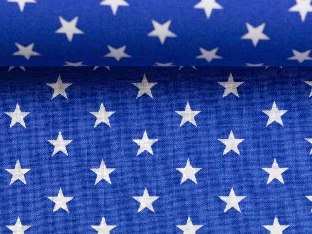 BAUMWOLLE Stoff - Sterne - royalblau,weiß