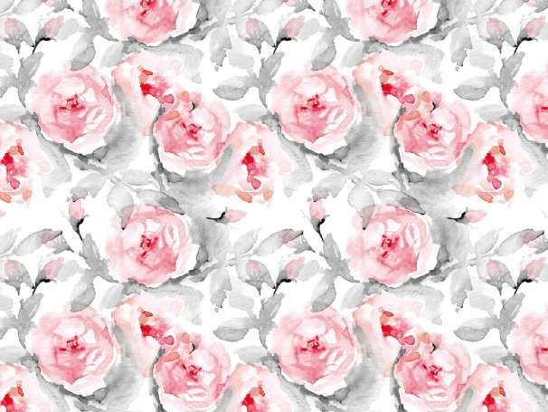 French Terry - Watercolor Roses - grau/rot - klein