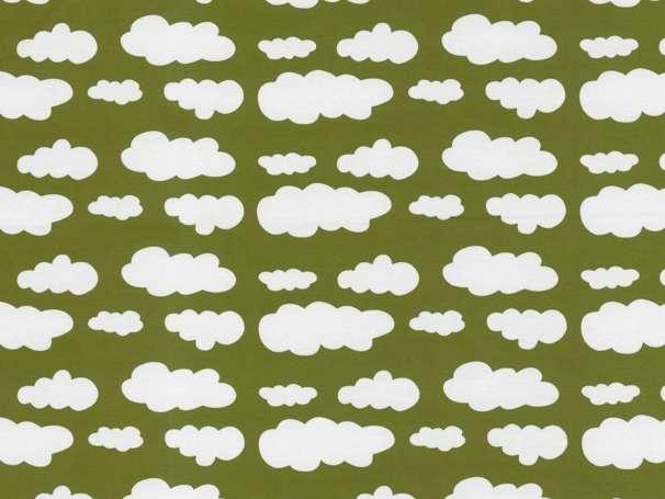 Jersey Stoff - Wolken - khaki