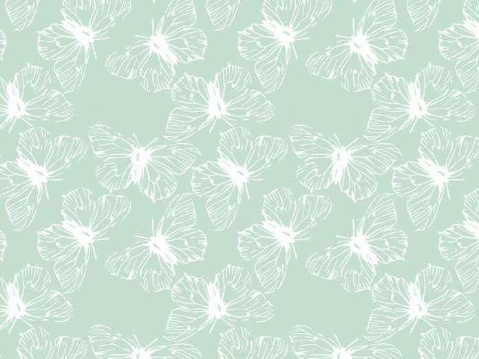 Sommerjersey Stoff - Schmetterlinge - mintgrün