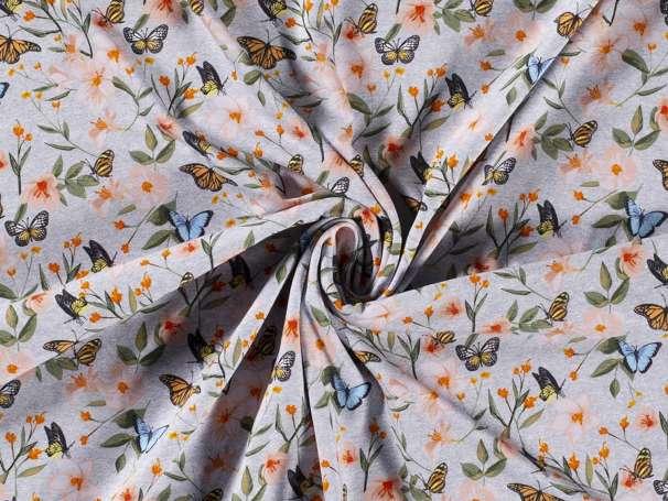 Jersey Stoff - Schmetterling Wiese - hellgrau meliert