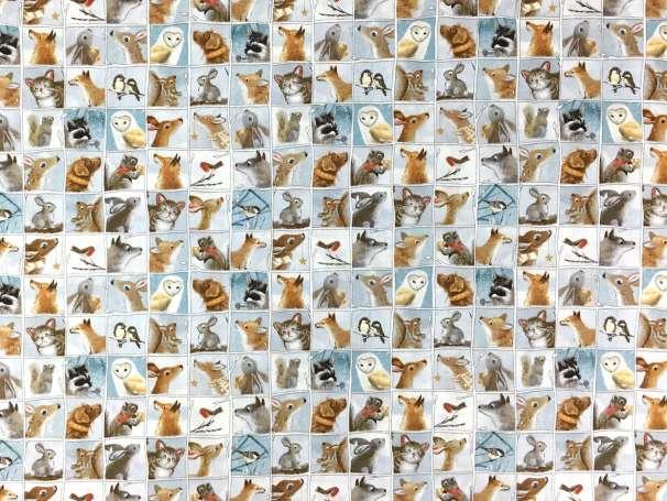 Baumwolle Stoff - Dusty Blue Animal Patch