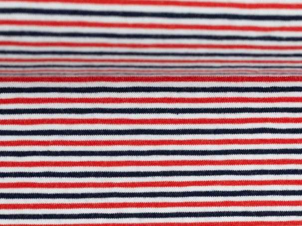 Jersey Stoff - Gala, Schmale Streifen - marine,rot,weiß