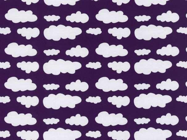 Jersey Stoff - Wolken - dunkellila