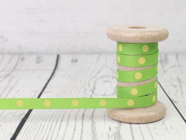 Ripsband - Punkte - grün-hellgelb