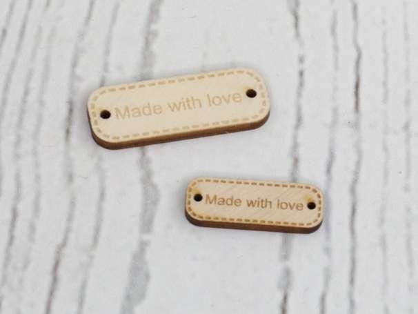 Holz Label - Made with love, verschiedene Größen