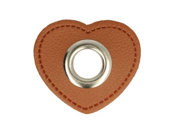 1 Kunstleder-Herz mit Öse - 11 mm - braun/silber